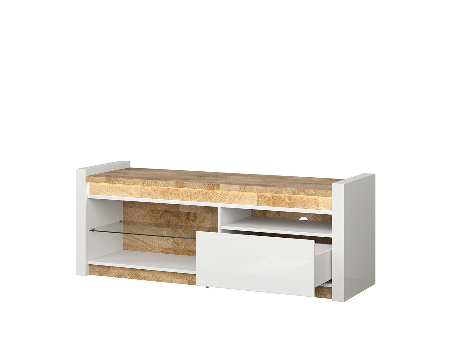 Fashionable Zimtown Modern Tv Stands High Gloss Media Console Cabinet With Led Shelf And Drawers For Modern White High Gloss Tv Cabinet Entertainment Unit With (View 1 of 10)