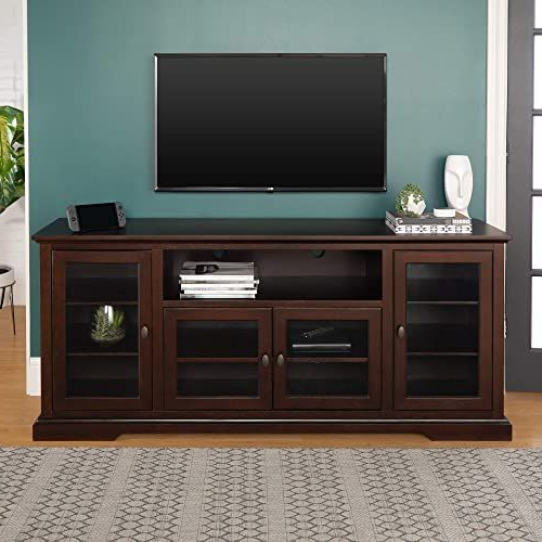 Favorite Alden Design Wooden Tv Stands With Storage Cabinet Espresso Throughout Buy Walker Edison Furniture Company Traditional Wood Glass (View 6 of 10)