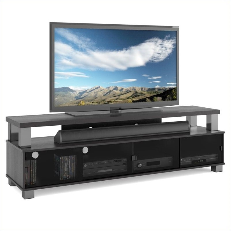 Favorite Bromley Extra Wide Oak Tv Stands Intended For Corliving Bromley 2 Tier Tv Stand In Ravenwood Black – For (View 7 of 25)