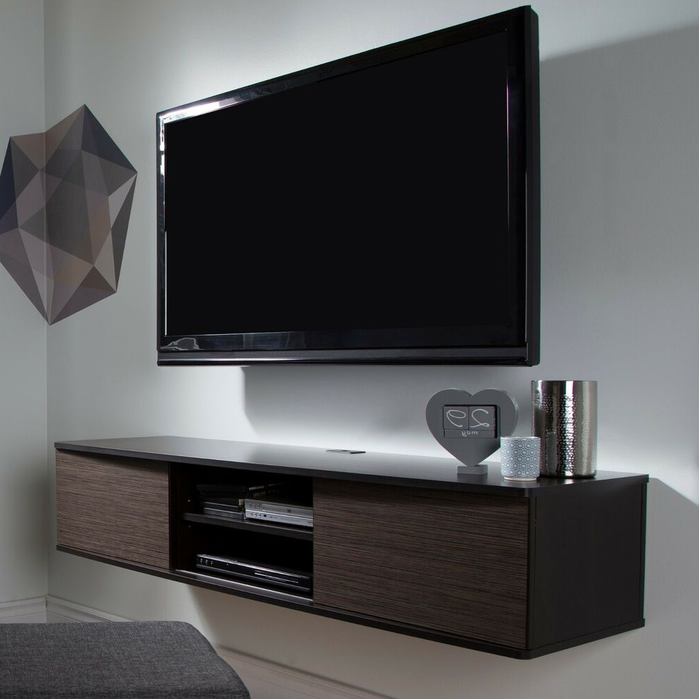 Favorite Chromium Extra Wide Tv Unit Stands Pertaining To Wall Mount Tv Stand Media Console Center Storage Shelves (View 8 of 10)