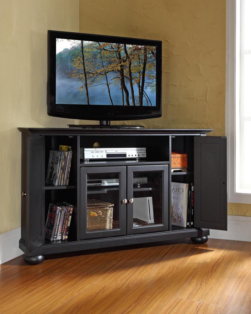"Favorite Edgeware Black Tv Stands Throughout Crosley Furniture – Alexandria 48"" Corner Tv Stand In (View 8 of 10)"