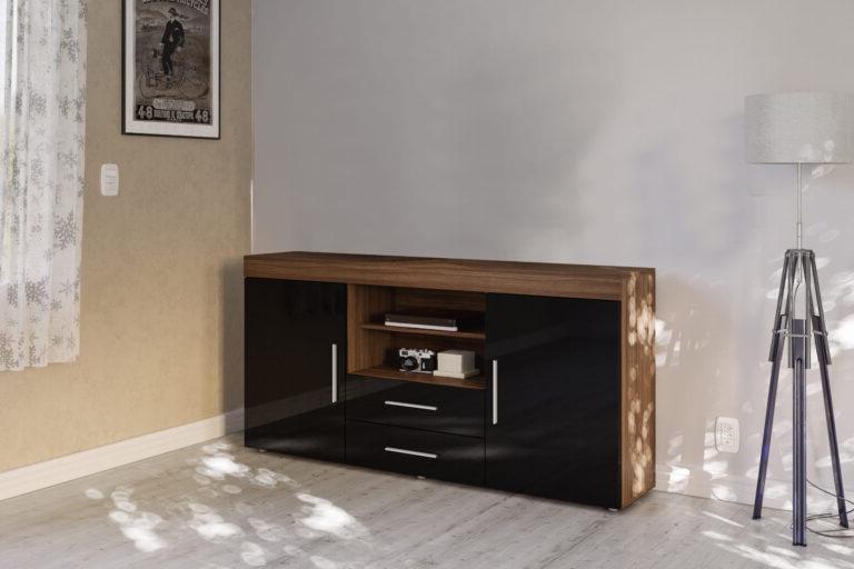 Favorite Edgeware Tv Stands Intended For Edgeware 2 Door 2 Drawer Sideboard Walnut & Black – Niture Uk (View 9 of 25)