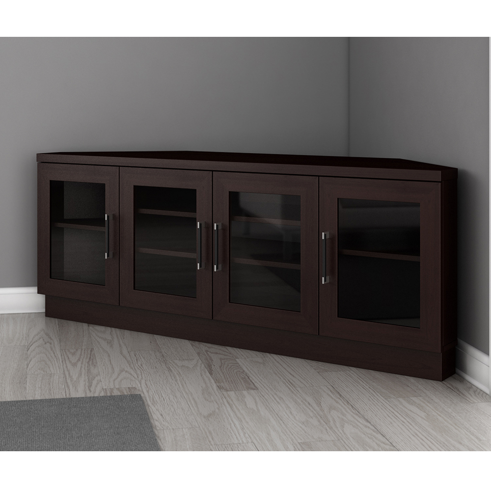 """Favorite Furnitech Ft60cccw – Contemporary Corner Tv Stand Media With Regard To Calea Tv Stands For Tvs Up To 65"""" (View 16 of 25)"""