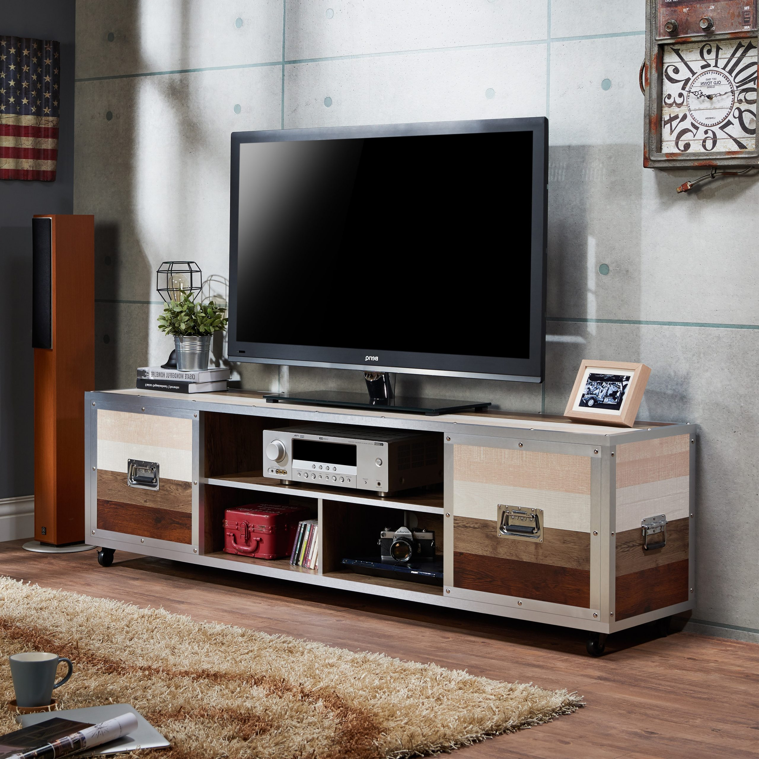 """Favorite Furniture Of America Yed Contemporary 70 Inch Multi Color Throughout Mainor Tv Stands For Tvs Up To 70"""" (View 7 of 25)"""