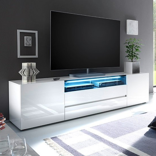 Favorite Genie Wide Tv Stand In High Gloss White With Led Lighting With Regard To Orsen Wide Tv Stands (View 21 of 25)