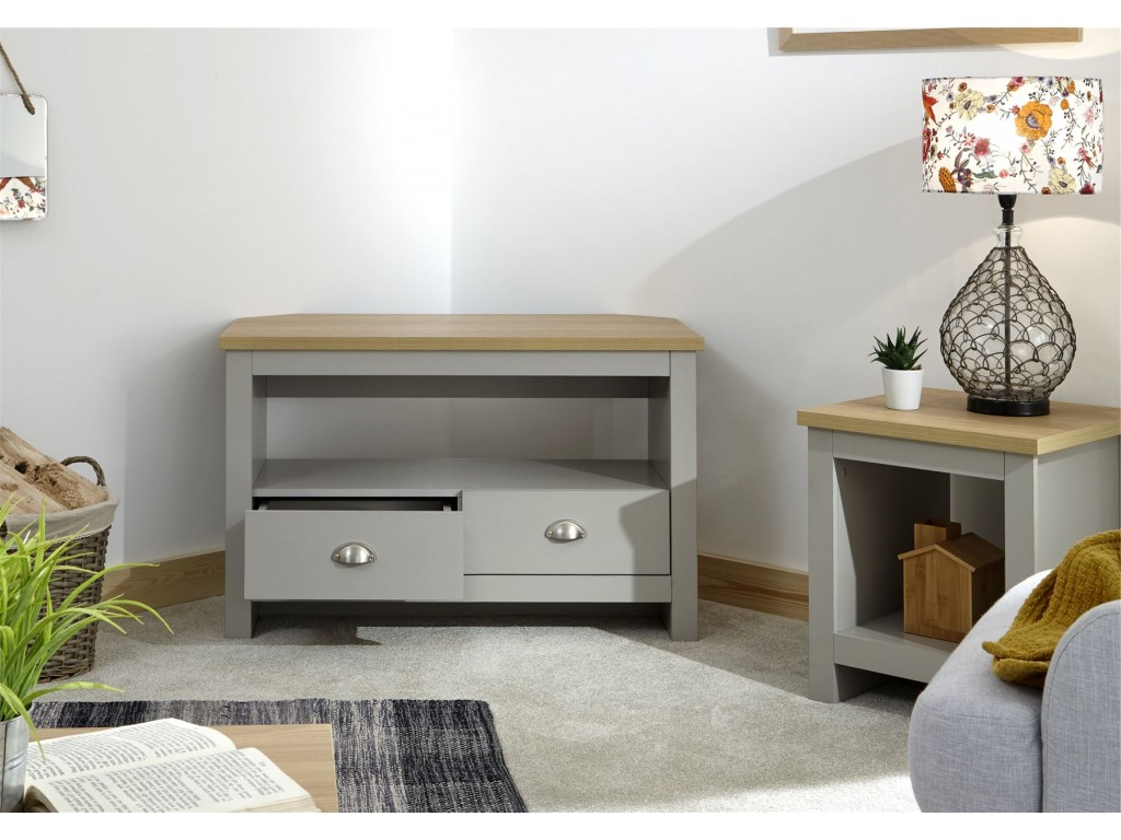 Favorite Lancaster Large Tv Stands Inside Lancaster Grey Oak Top 2 Drawer Shelf Living Room Corner (View 4 of 10)