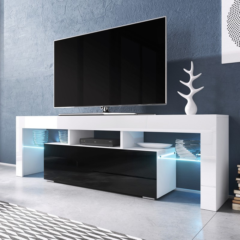 Favorite Milano White Tv Stands With Led Lights With Regard To Bmf Toro Tv Stand 138cm Wide White Black High Gloss Led (View 23 of 25)