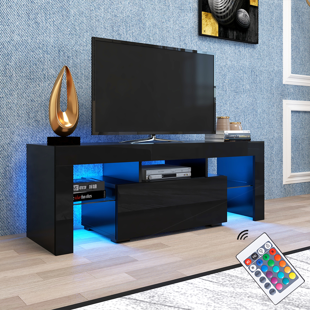 Favorite Modern Black Tv Stand On Clearance With Led Lights, High In High Glass Modern Entertainment Tv Stands For Living Room Bedroom (View 8 of 10)
