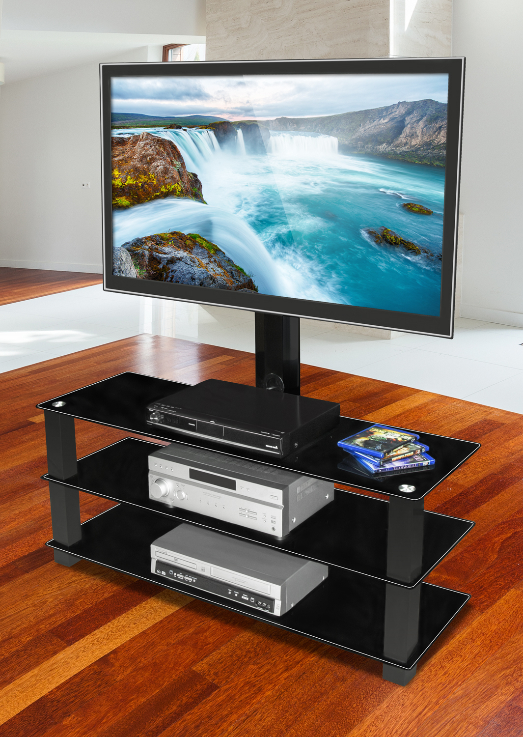 """Favorite Paulina Tv Stands For Tvs Up To 32"""" For Mount It! Tv Stand With Built In Bracket And Three Glass (View 17 of 25)"""