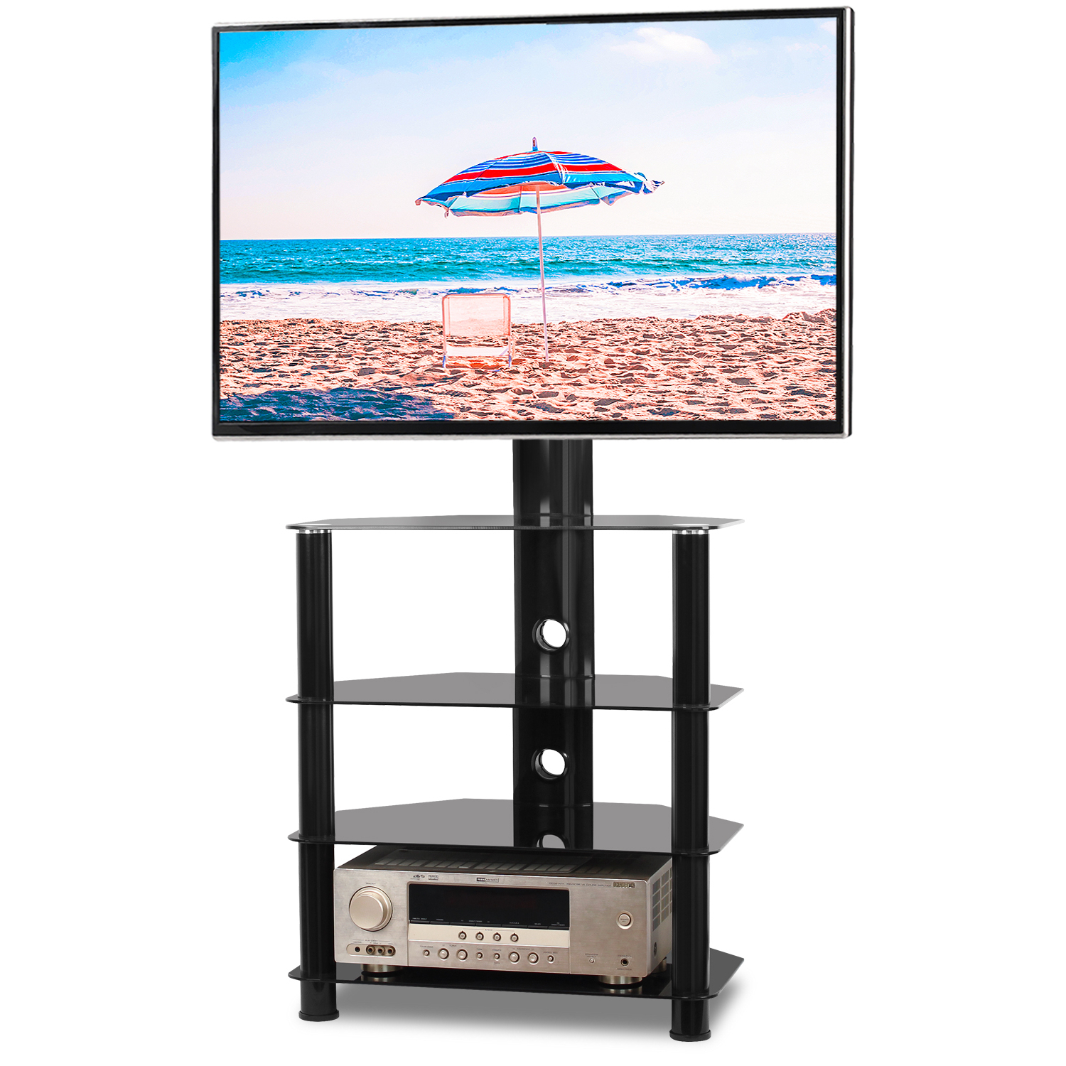 """Favorite Rfiver Modern 4 Shelf Floor Corner Tv Stand For 32"""" 55 With Baba Tv Stands For Tvs Up To 55"""" (View 11 of 25)"""