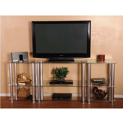 Favorite Rta Extra Tall Clear Glass And Aluminum Lcd And Uhd 4k Tv With Space Saving Black Tall Tv Stands With Glass Base (View 10 of 10)