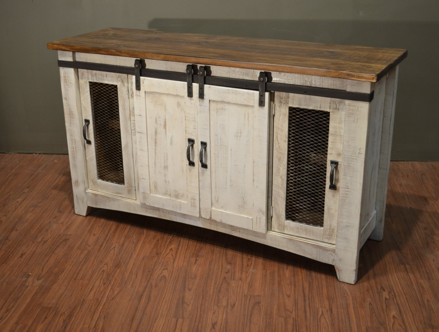 """Favorite Rustic Solid Reclaimed Wood Tv Stand Media Center / Sideboard Inside Farmhouse Tv Stands For 75"""" Flat Screen With Console Table Storage Cabinet (View 8 of 10)"""