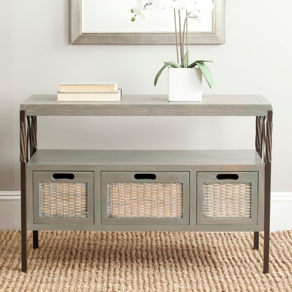 Favorite Safavieh Joshua Ash Grey Tv Stand – On Sale – Overstock With Regard To Farmhouse Woven Paths Glass Door Tv Stands (View 7 of 10)