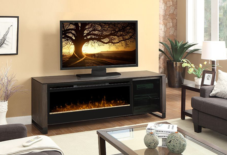 Favorite The Howden Weathered Espresso Electric Fireplace Inside Compton Ivory Extra Wide Tv Stands (View 22 of 25)