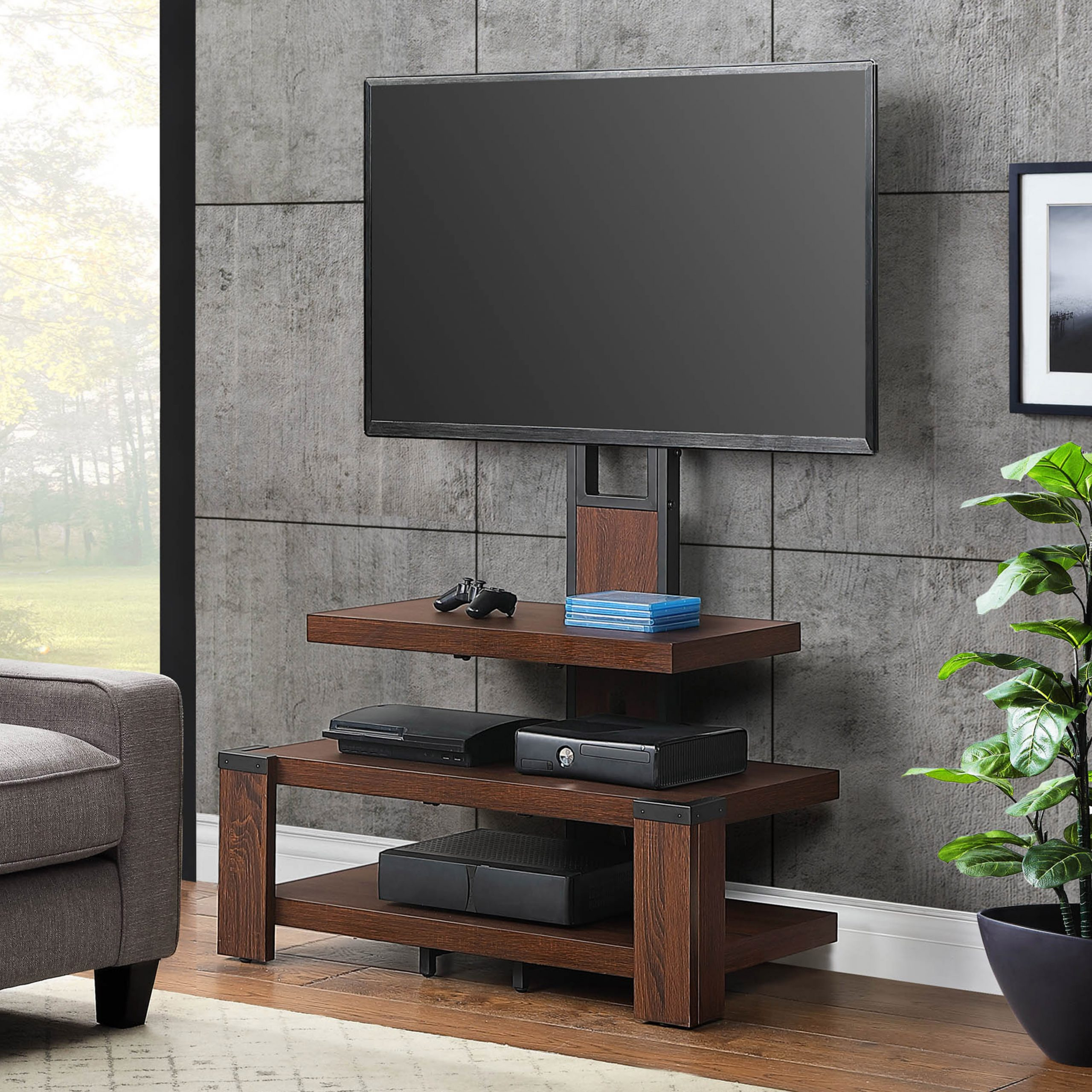Favorite Tv Stands Regarding Whalen 3 Shelf Television Stand With Floater Mount For Tvs (View 1 of 16)