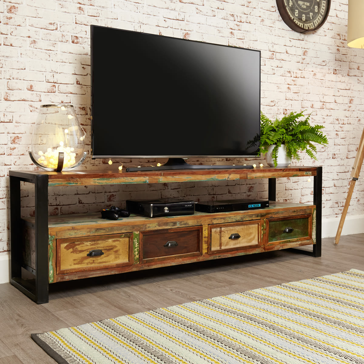 Favorite Tv Stands With Drawer And Cabinets With Regard To Urban Chic Open Widescreen Television Cabinet Was £ (View 2 of 10)