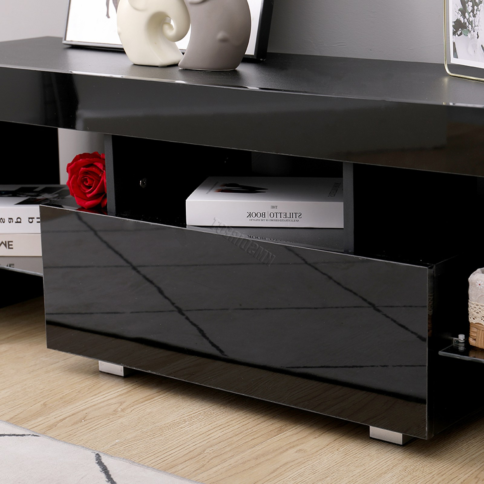 Favorite Zimtown Tv Stands With High Gloss Led Lights Inside Westwood Morden High Gloss Matt 130cm Tv Cabinet Unit (View 9 of 10)