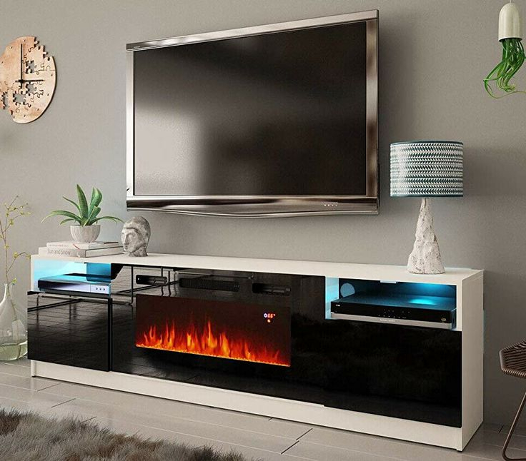 Fireplace Tv Stand Media Console White Black 80 Inch Large Regarding Latest Milano White Tv Stands With Led Lights (View 24 of 25)