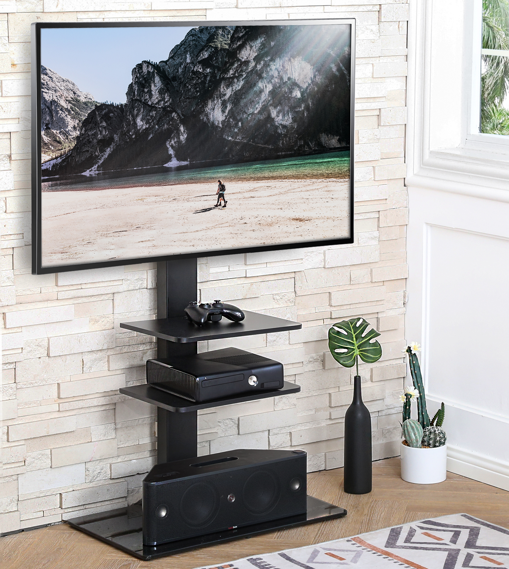 """Fitueyes Universal Floor Swivel Tv Base Tv Stand With Throughout Most Up To Date Paulina Tv Stands For Tvs Up To 32"""" (View 24 of 25)"""