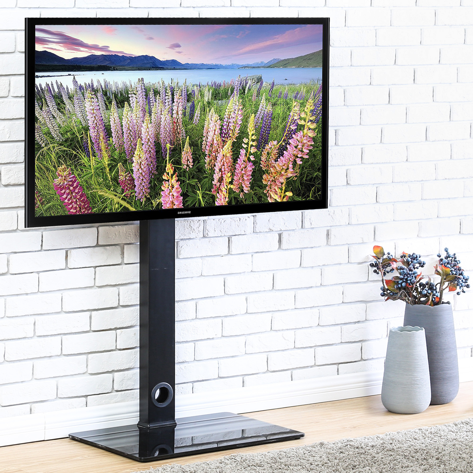 """Fitueyes Universal Floor Tv Stand With Swivel Mount, For Throughout Preferred Baba Tv Stands For Tvs Up To 55"""" (View 21 of 25)"""