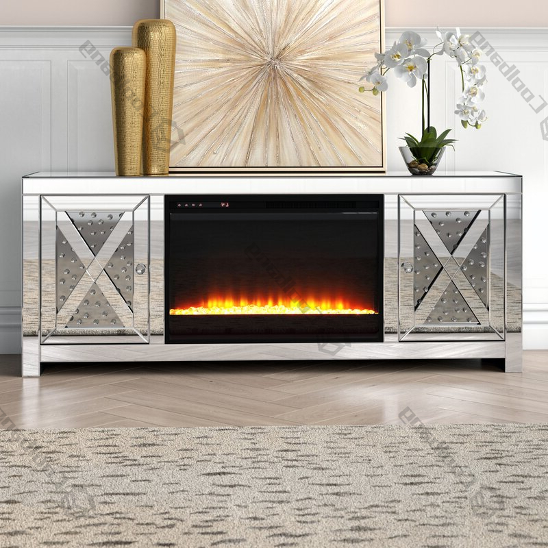 Fitzgerald Mirrored Tv Stands Throughout Preferred Mirrored Furniture Crushed Diamond Tv Stand With Fireplace (View 21 of 25)