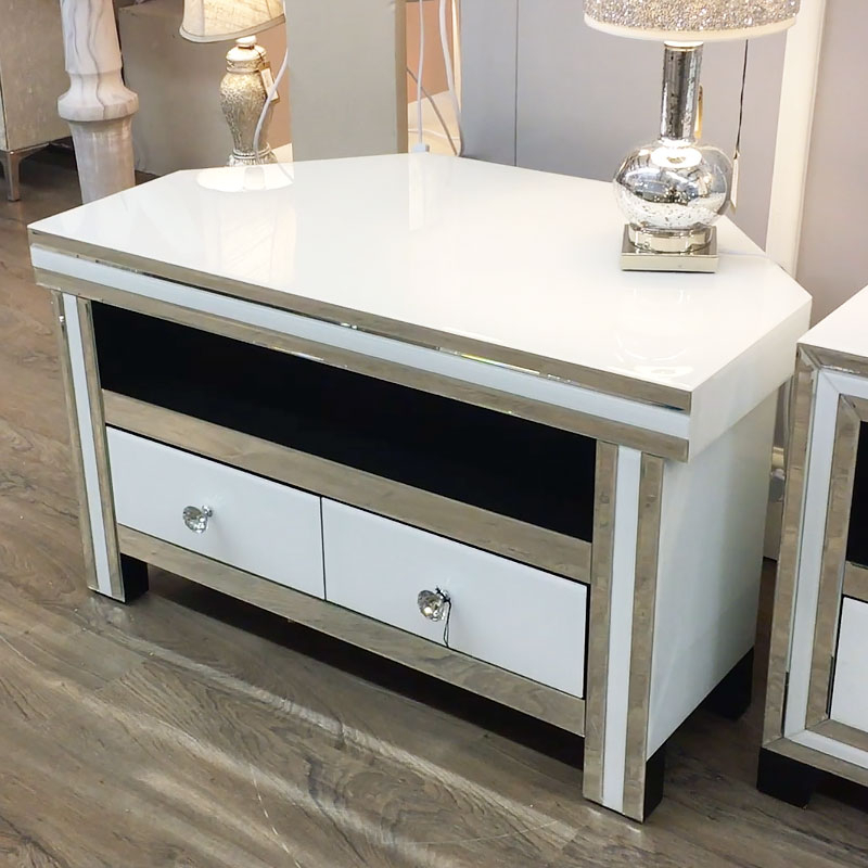 Fitzgerald Mirrored Tv Stands Throughout Trendy Madison White Mirrored Glass Corner 2 Drawer Tv Cabinet (View 8 of 25)