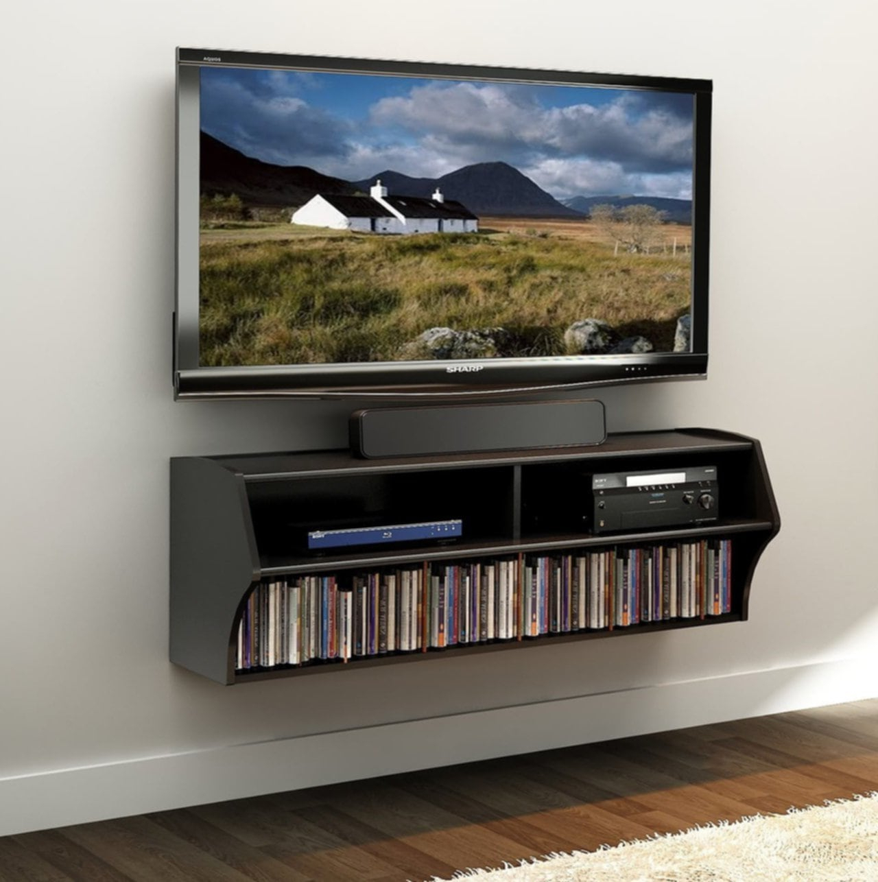 Floating Tv Shelf Wall Mounted Storage Shelf Modern Tv Stands For Well Liked With Best Tv Wall Mount Shelf – Loccie Better Homes (View 6 of 10)