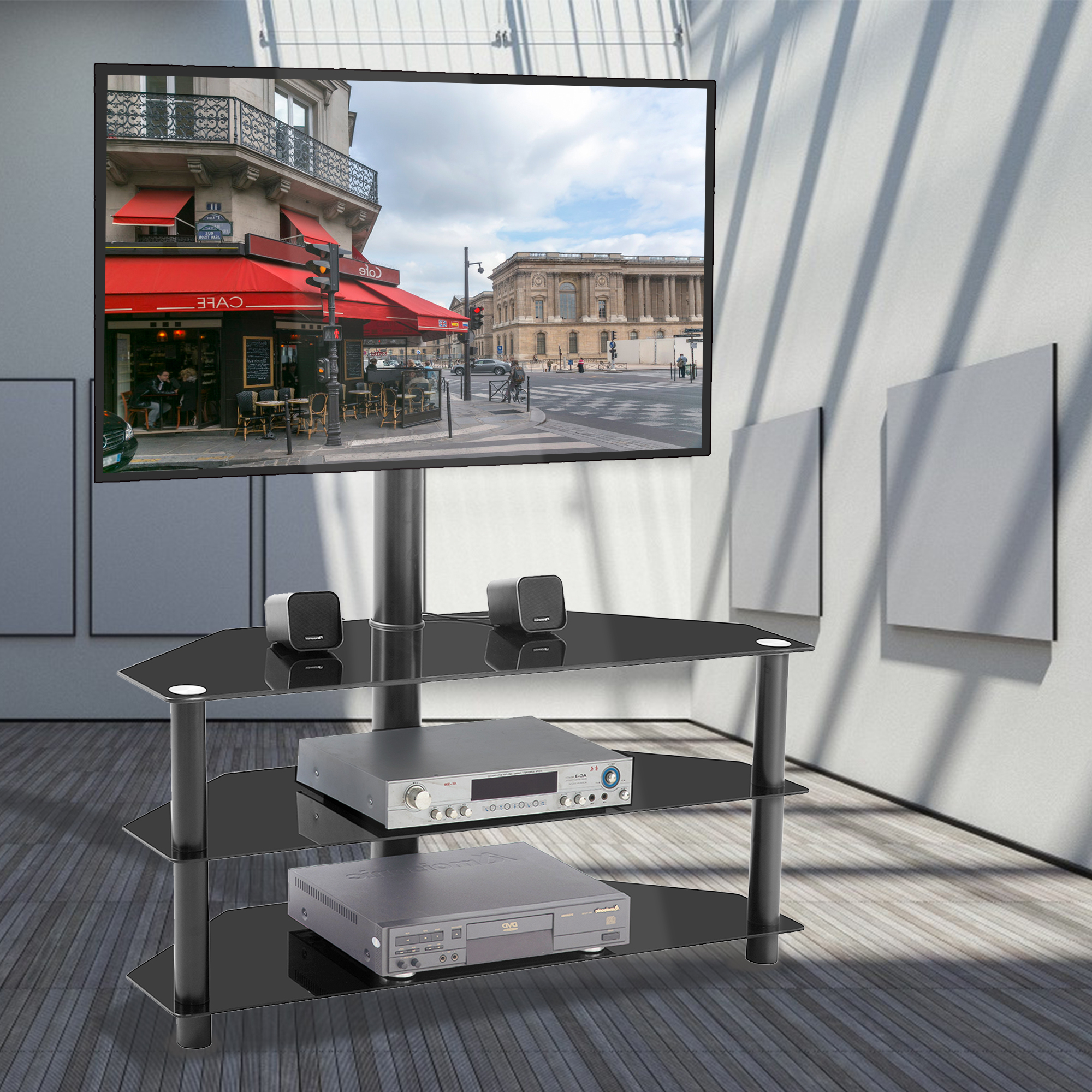 Floor Corner Tv Stand With Swivel Mount, Universal Swivel For Well Known Priya Corner Tv Stands (View 19 of 25)