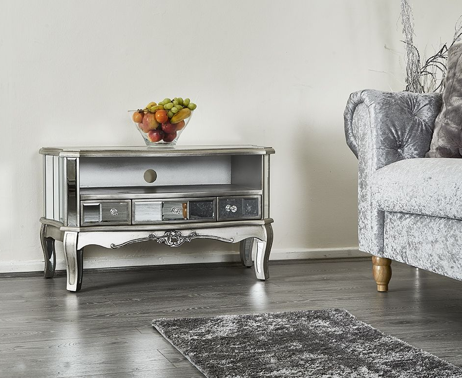 French Shabby Chic Silver Mirrored Tv Stand Unit Storage Throughout 2017 Fitzgerald Mirrored Tv Stands (View 5 of 25)