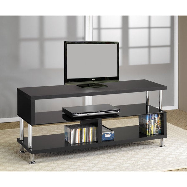 Freya Corner Tv Stands Throughout Most Recently Released Shop Coaster Company Black And Chrome Tv Stand – Free (View 5 of 10)