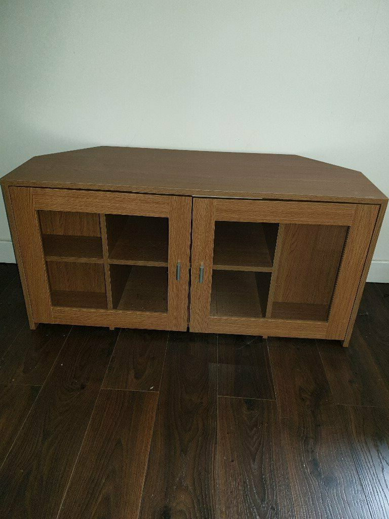 Fulton Oak Effect Corner Tv Stands Within Well Known Tv Unit In Oak Effect Wood Suitable For Wall Or Corner (View 25 of 25)