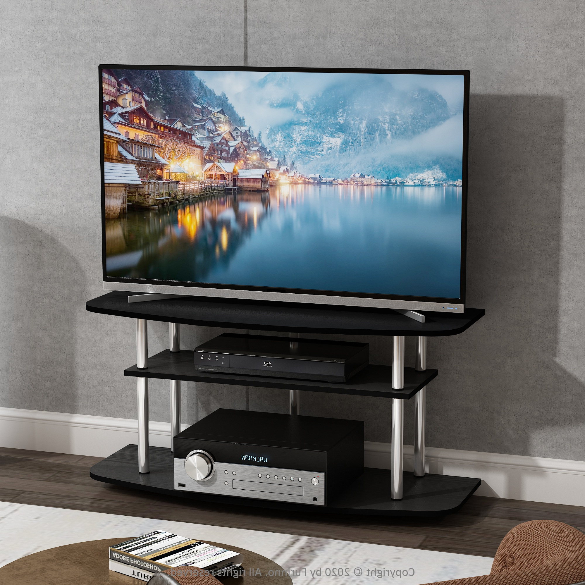 Furinno Frans Turn N Tube 3 Tier Tv Stand For Tv Up To 46 In Latest Furinno Turn N Tube No Tool 3 Tier Entertainment Tv Stands (View 1 of 10)