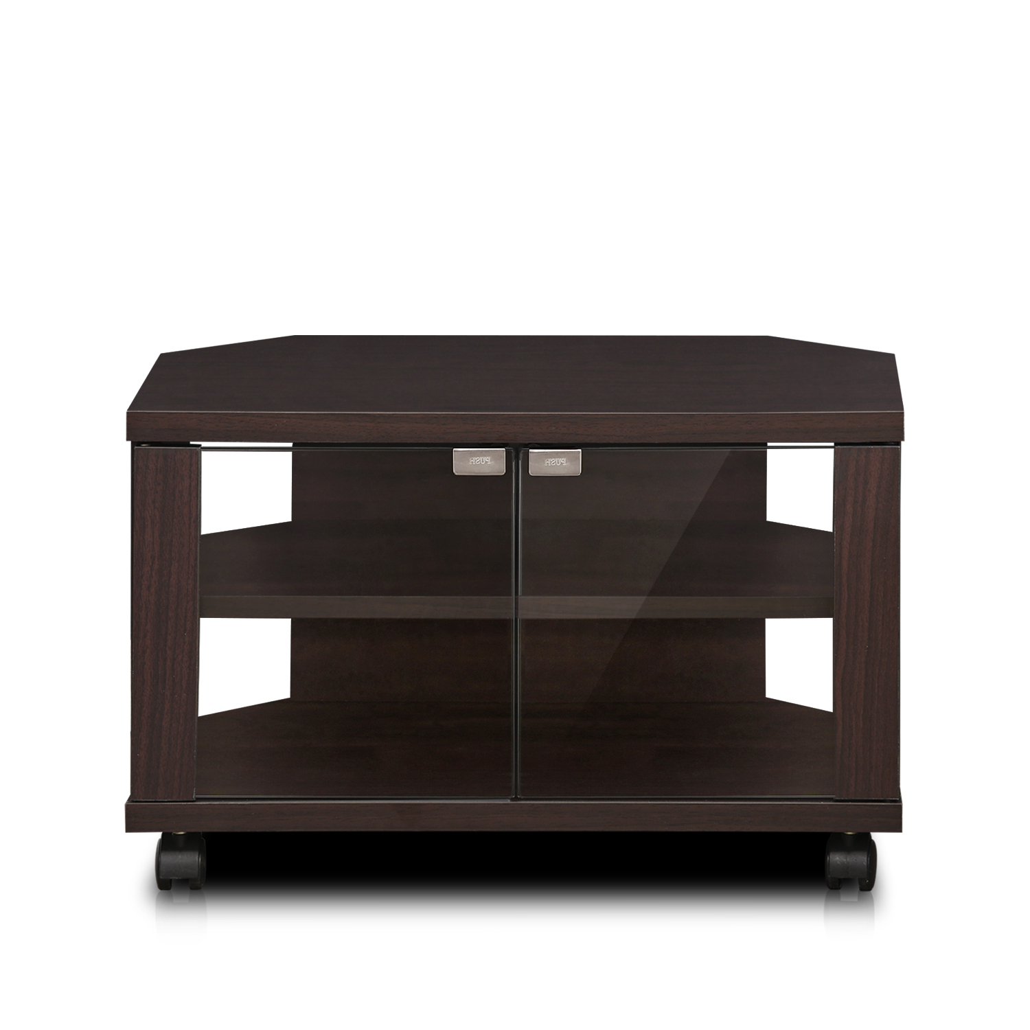 Furinno Indo Petite Tv Stand With Double Glass Doors And With Current Jakarta Tv Stands (View 2 of 10)