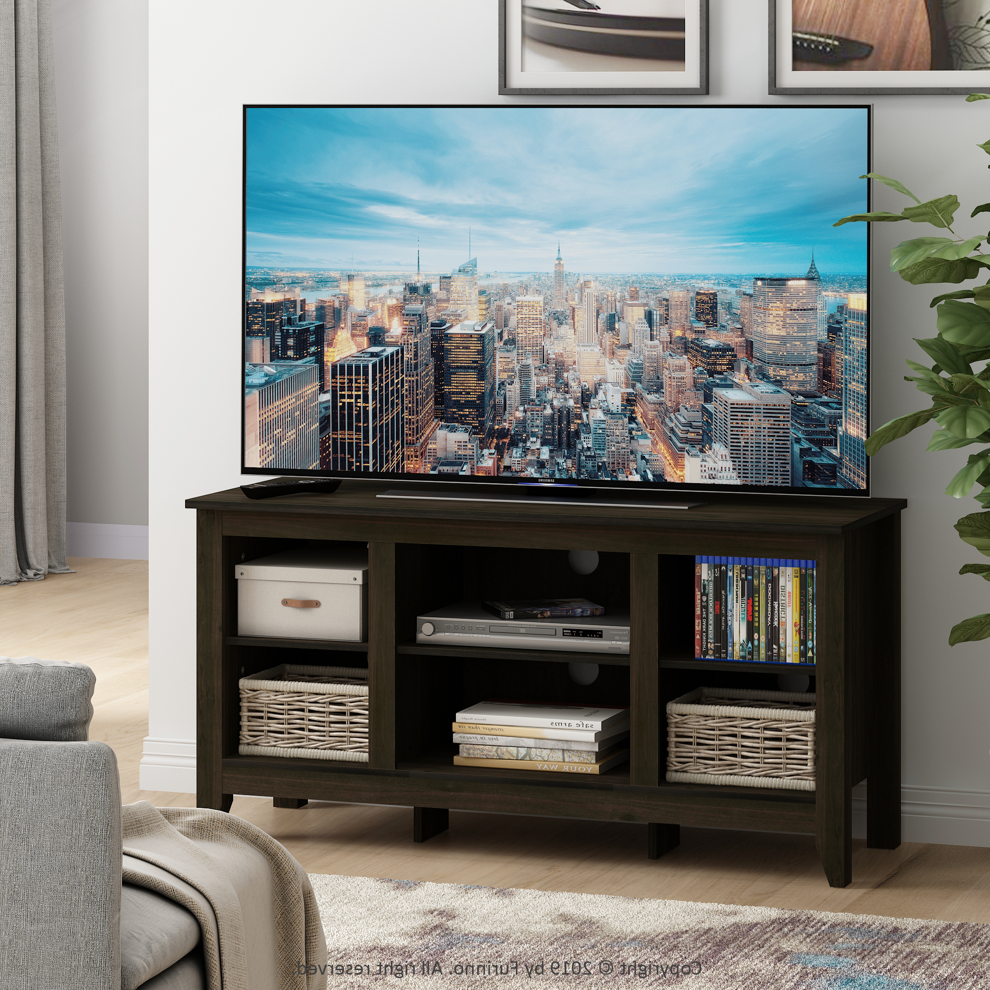 """Furinno Jensen Tv Stand With Shelves, For Tv Up To 55 Inch With Regard To Most Popular Millen Tv Stands For Tvs Up To 60"""" (View 1 of 25)"""