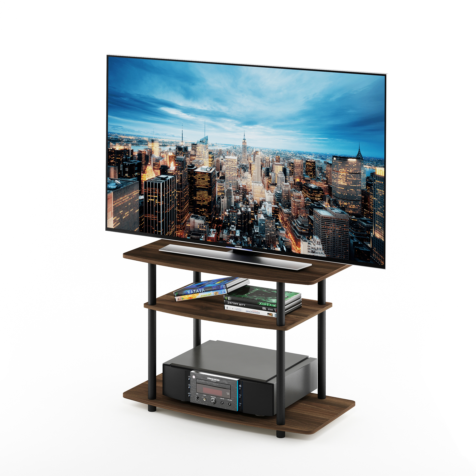 Furinno Turn N Tube No Tool 3 Tier Entertainment Tv Stands Intended For Widely Used Furinno Turn N Tube No Tools 3 Tier Tv Stands With Classic (View 7 of 10)