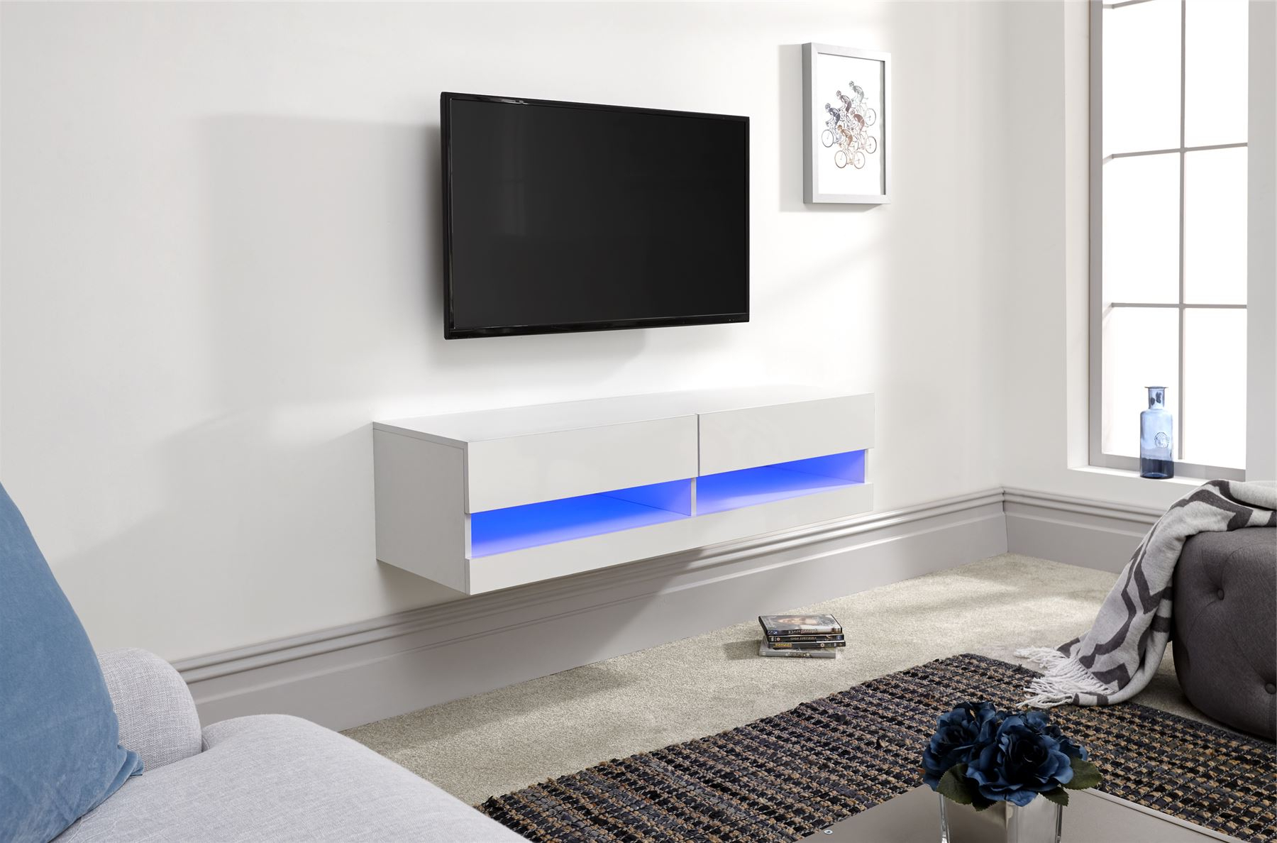 Galicia 120cm 150cm 180cm Wall Tv Unit Stand W/ Led Lcd Throughout Preferred Galicia 180cm Led Wide Wall Tv Unit Stands (View 4 of 10)