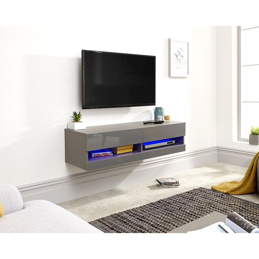 Galicia 180cm Led Wide Wall Tv Unit Stands Regarding 2017 Galicia Wall Mounted Grey Gloss Tv Unit With Led – 120 Cm (View 10 of 10)