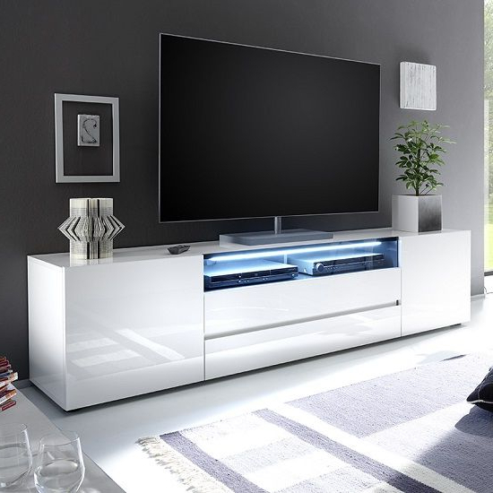 """Genie Wide Tv Stand In High Gloss White With Led Lighting Throughout Newest 47"""" Tv Stands High Gloss Tv Cabinet With 2 Drawers (View 9 of 10)"""
