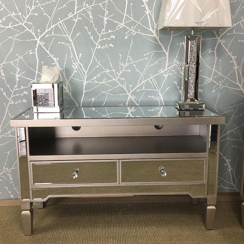 Georgia Antique Silver Mirrored Tv Entertainment Stand Throughout Well Known Fitzgerald Mirrored Tv Stands (View 10 of 25)