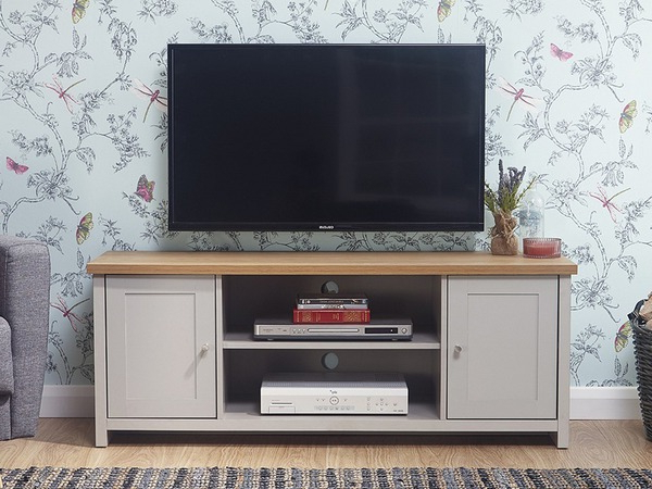 Gfw Lancaster Grey And Oak 2 Door Large Tv Cabinet (flat Pertaining To Well Known Lancaster Large Tv Stands (View 9 of 10)