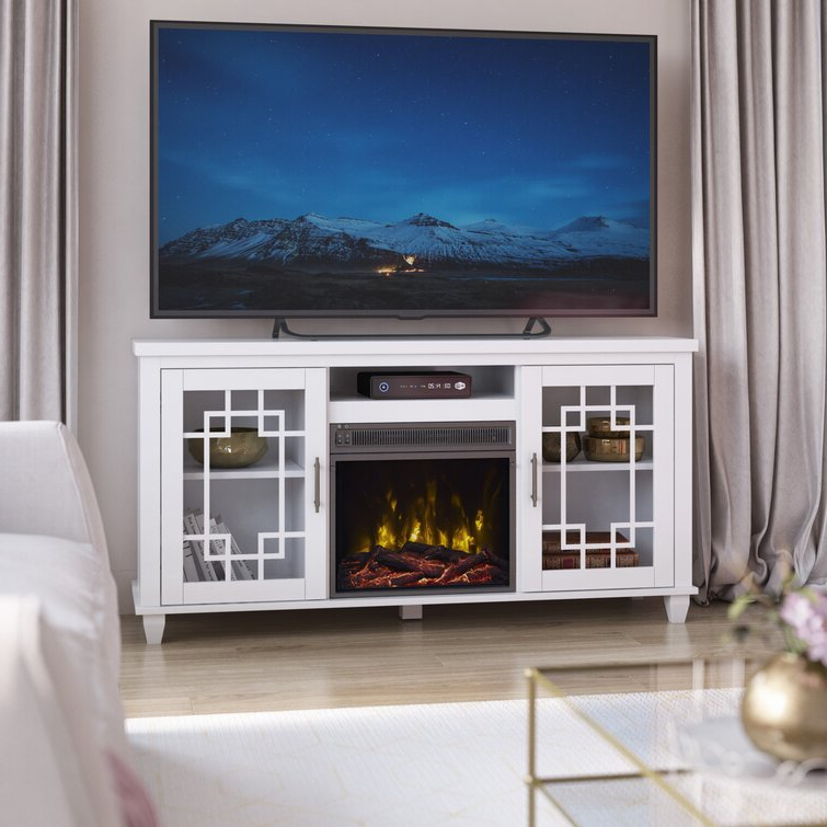 """Gracie Oaks Tito Tv Stand For Tvs Up To 60"""" With Fireplace With Well Liked Lorraine Tv Stands For Tvs Up To 60"""" With Fireplace Included (View 21 of 25)"""