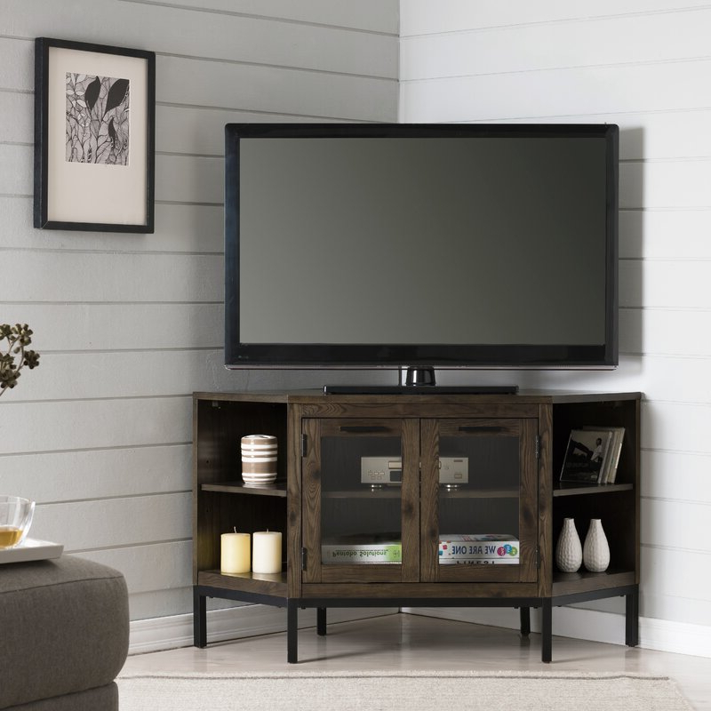 """Gracie Oaks Virna Corner Tv Stand For Tvs Up To 50 Within Trendy Baba Tv Stands For Tvs Up To 55"""" (View 4 of 25)"""