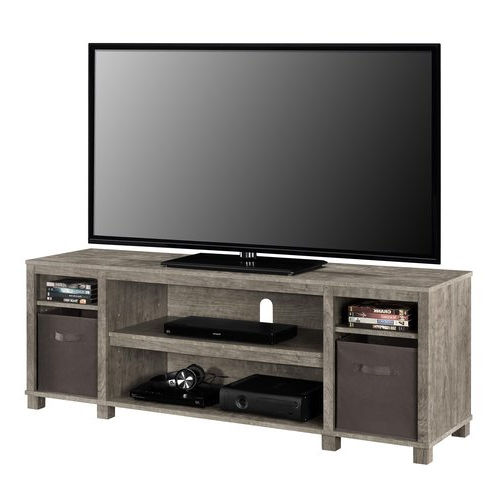 Gray Tv Stand Console W/ 2 Bins Storage Home Entertainment Pertaining To Well Liked Woven Paths Open Storage Tv Stands With Multiple Finishes (View 9 of 10)