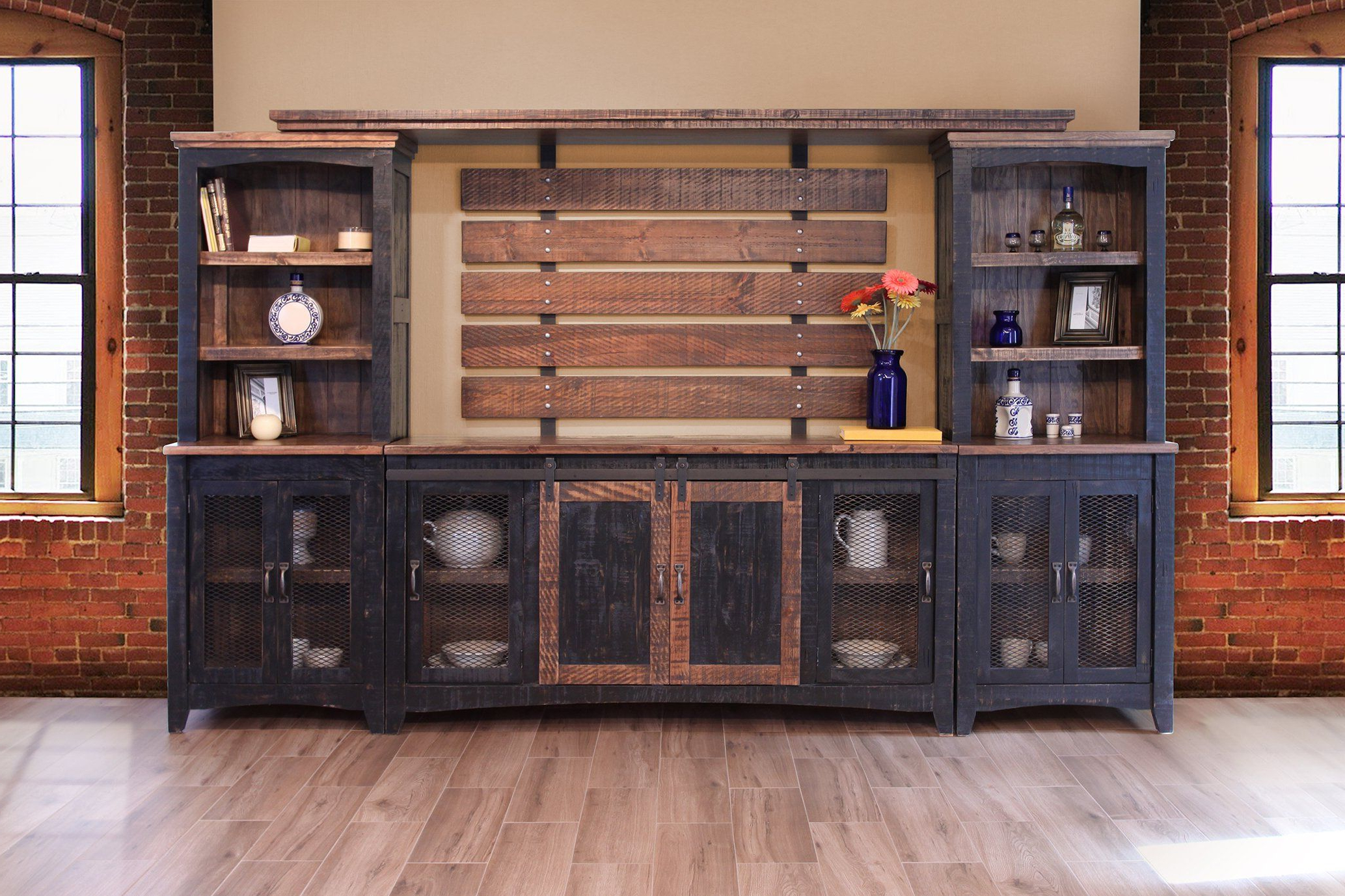 Greenview Sliding Door Media Set – Distressed Black For Fashionable Dark Brown Tv Cabinets With 2 Sliding Doors And Drawer (View 8 of 10)