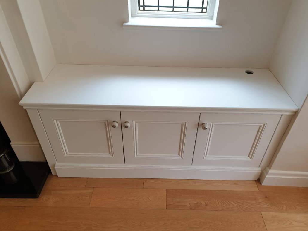 Greenwich Corner Tv Stands For Favorite Bespoke Alcove Tv Cabinet In A Spray Painted Finish With (View 8 of 10)