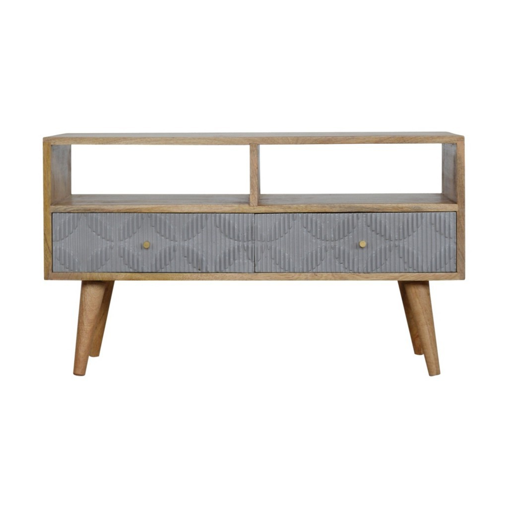 Gregory Carved Solid Wood Tv Media Unit With 2 Drawers In Grey With Regard To Popular Scandi 2 Drawer Grey Tv Media Unit Stands (View 3 of 10)