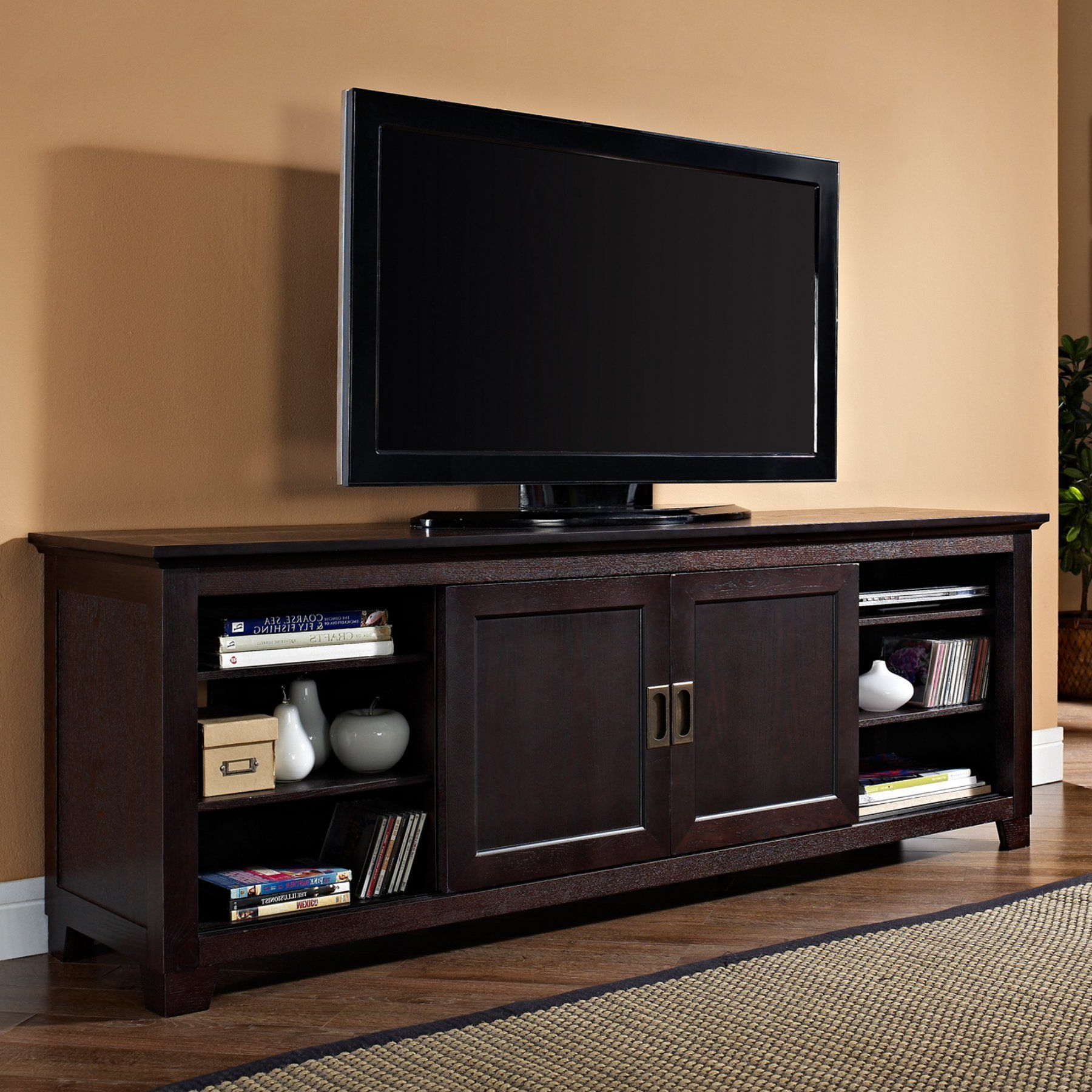 """Griffing Solid Wood Tv Stands For Tvs Up To 85"""" Pertaining To Most Recently Released Walker Edison 70 In (View 13 of 25)"""