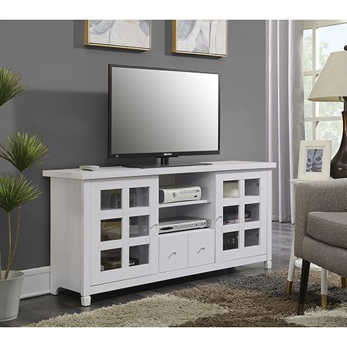 """Hal Tv Stands For Tvs Up To 60"""" Within Favorite Convenience Concepts Newport Park Lane White 60 Inch Tv (View 9 of 25)"""