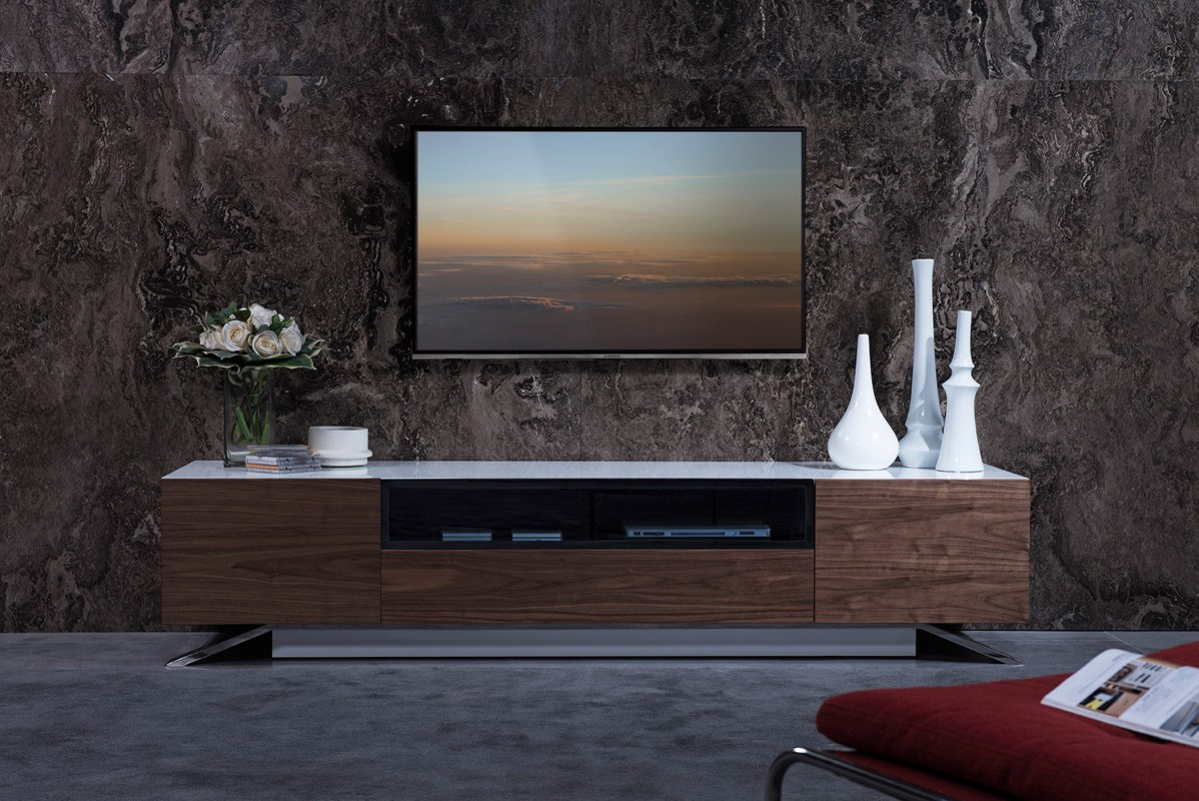 Hannu Tv Media Unit White Stands Intended For Famous Modrest Gillian Contemporary White & Walnut Tv Stand – Tv (View 8 of 10)