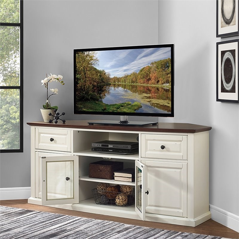 """Hex Corner Tv Stands Intended For Newest Pemberly Row 60"""" Corner Tv Stand In White And Mahogany (View 1 of 25)"""